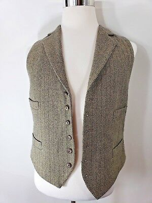Ralph Lauren Vintage Wool Green & Creme Vest Sz Large or Size 44 USA Made