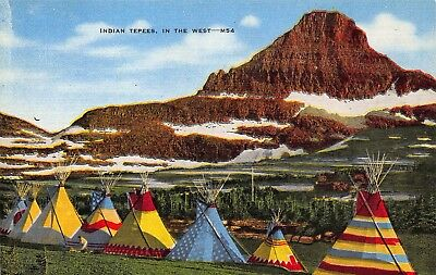 VTG POSTCARD NATIVE AMERICAN INDIAN TEEPEES Tepees in WEST MONTANA WYOMING / A45