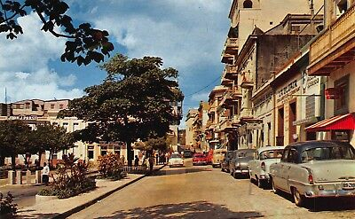 Vtg OLD SAN FRANCISCO STREET San Juan PUERTO RICO UNUSED POSTCARD Cars Shops A6