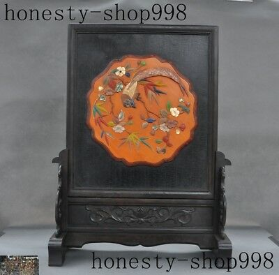 antique Chinese Rosewood inlay shell Old jade Magpie Plum flower folding screen
