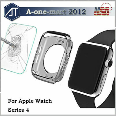 For Apple Watch Series 5/4 40 44MM Full Coverage Glass Screen Protector+TPU Case