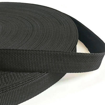 Black Webbing Strap 20/25/38/50mm Polypropylene Tape Belt Strapping 1-10 Meters