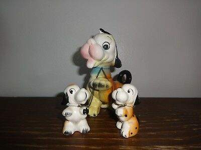 Vintage Dog Figurine with 2 Puppies on a Chain Leash Ceramic Porcelain Japan