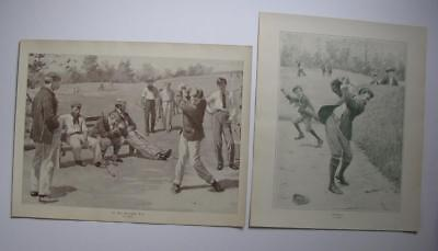 2 ORIG 1914 COLLIER'S LITHO ART PRINTS GOLF GOLFING 7th TEE by A. B. FROST