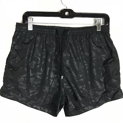 53fbe50e77 ZARA MAN NWOT Men's Black Camo Print Size Large Swim Trunks Shorts ...