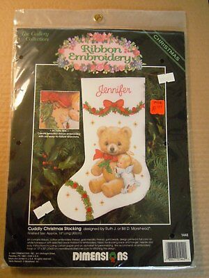 1994 DIMENSIONS Ribbon Embroidery KIT ~CUDDLY CHRISTMAS STOCKING Teddy Bear, New