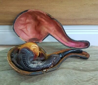 Antique hand Carved Meerschaum Tobacco Pipe in Original Leather Case late 1800's