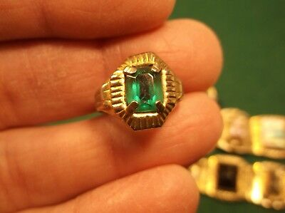 Rare Old Vtg Antique Art Deco Gold Toned Adjustable Ring + Emerald Green Glass