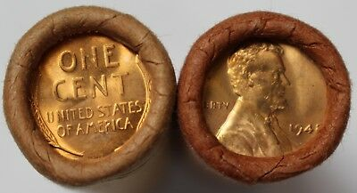 1948 P BU Wheat Cent Roll Lincoln OBW 50c Mint Penny Pennies 50 Coins Old US