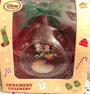 Disney Store Mickey and Minnie Mouse Glass Drop Sketchbook Holiday Ornament 2016