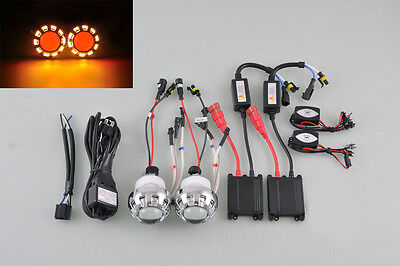 "MT8 Motor 2.0"" HID Bi-Xenon Ballast Projector Lens Yellow Red Double Angel Eyes"