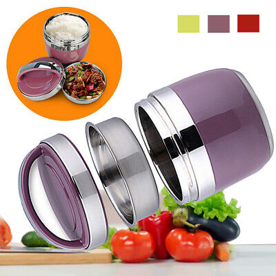AU Portable 2Layer Stainless Steel Thermal Insulated Lunch Bento Food Container