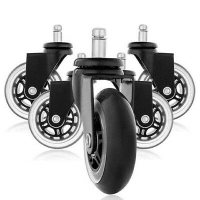 5PCS Office Chair Caster Wheels Roller Replacement 3 Inch Swivel Rubber Wheel