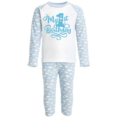 My First 1st Birthday Blue Pyjamas - 1st Birthday Pjs - Can Be Personalised