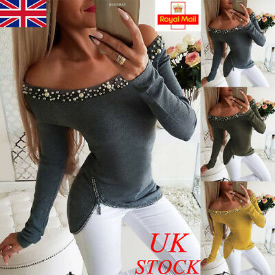 UK Womens Beading Off Shoulder Long Sleeve T Shirt Ladies Casual Blouse Tops Tee