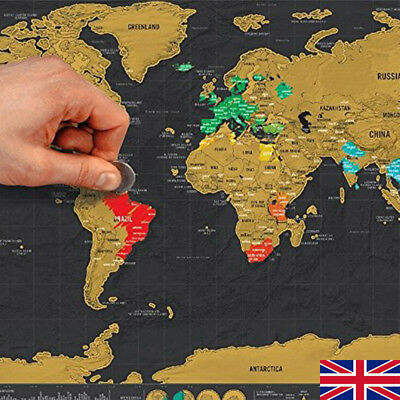 Deluxe World Travel Scratch Off Map 42x30cm Holiday Poster Wall Paper Kids Gifts