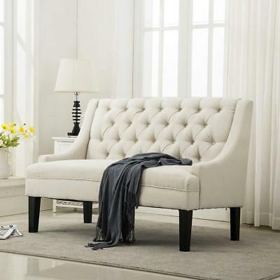 Modern Settee Bench Banquette Loveseat Fabric Sofa Button Tufted Couch Beige New