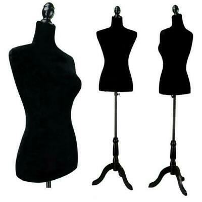Black Female Mannequin Torso Dress Form Tripod Stand display W/ Tripod Stand