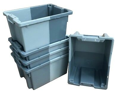 5 x 16 Litre Stack Nest Plastic Storage Boxes Containers Crates Shelf Totes Box