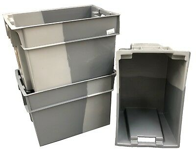 10 x 70 Litre Deep Stack/Nest 180º Plastic Storage Boxes Containers Crates Totes