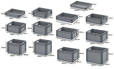Euro Stacking Heavy Duty Plastic Storage Containers Box Boxes Industrial Crates!