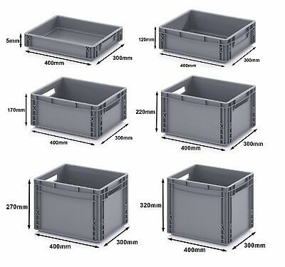 400 x 300 Euro Stacking Heavy Duty Plastic Storage Containers Boxes Crates GREY