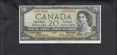 1954 Canada 20 Dollars Devil Face Bank Note Coyne / Towers