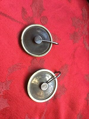 Nice Pair Of Grandfather Longcase  Clock Cast Brass Pulley Wheels Steel  Stirrup