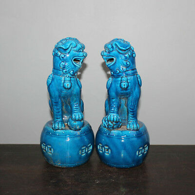 Chinese Old Pair Marked Blue Glaze Porcelain Foo Dogs Statues