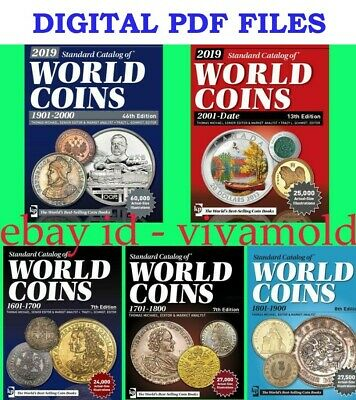 2019 KRAUSE 5pcs set Standard Catalogs of World Coins 1601-2018 5pcs in PDF