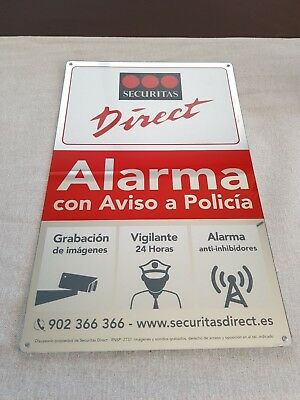 Placa alarma disuasoria grande securitas Direct. Modelo 2017 Alarma Verisure