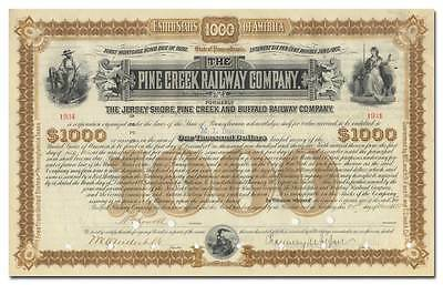 Pine Creek Railway Company Bond Certificate Signed by Vanderbilt & DePew