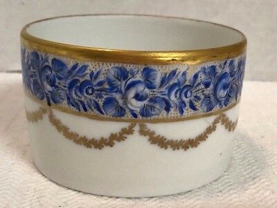 Antique Porcelain Ramekin Bowl Gold White Blue - 3 1/2""