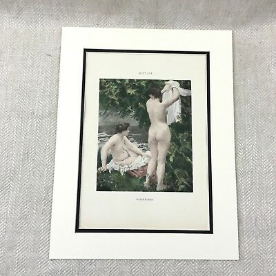 Antique Print Nude Girl French Painting Houyaux  Bathing Women Lithograph Art