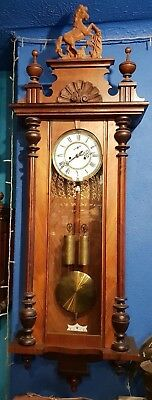 Imposing Antique Vienna Striking Wall Clock By Gustav Becker.