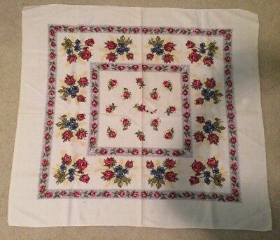 Vintage Floral Tablecloth Topper Scarf Red Roses Blue Flowers Square Card Table
