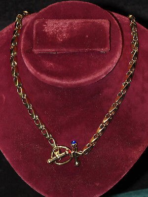 Sterling Silver 925 Gold Wash Toggle Chain Necklace