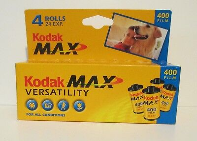 Kodak Max 400 film 4 rolls 24exp. On each 35mm  expired 2004  New In Sealed box