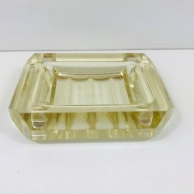 Lovely Vintage Art Deco Glass Ashtray Heavy Weight