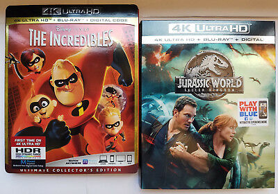 The Incredibles+Jurassic World Fallen Kingdom 4K+Blu ray+Slip Covers, No Digital