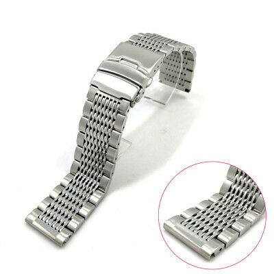 20/22mm Replacement Wrist Watch Bracelet Band Double Clasp Stainless Steel Strap