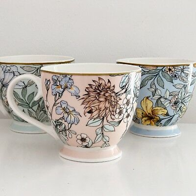 Fine China Vintage Style Floral Large Tea Coffee Mug Cup Choice Pink Blue Green