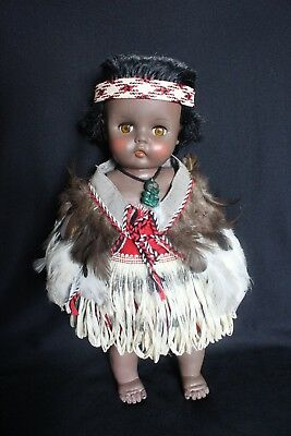 1960's New Zealand PEDIGREE Maori DOLL 16 inches tall - Original Costume