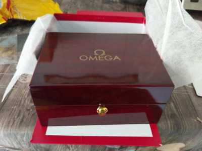 OMEGA Watch Box With Pillow & Booklet Wood Vintage Rare Empty Box