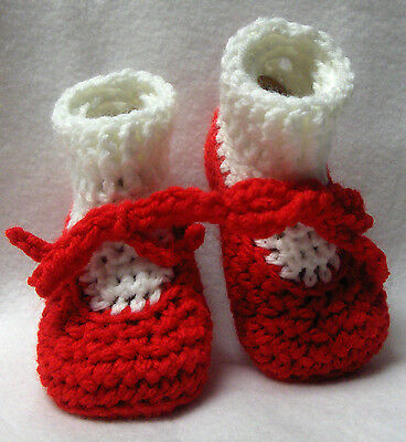 352a10044d1 Crochet Baby Girls Dress Shoes Booties 0-3 months Red White Casual Handmade