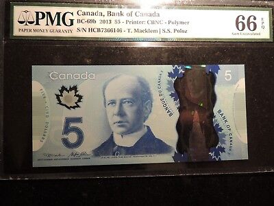 2013 BANK OF CANADA $ 5 DOLLARS POLYMER BC-69b PMG GEM UNC 66 EPQ