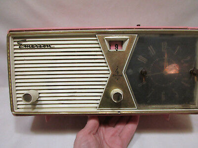 1958 EMERSON AM Tube Clock Radio, Model 883B, Pink, For Parts