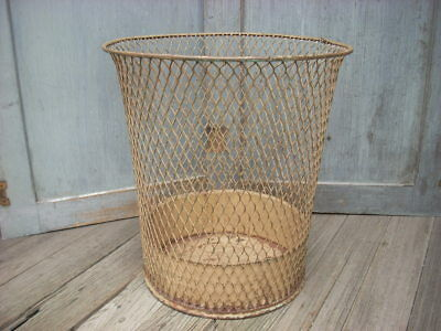 Vintage Industrial Wire Mesh Paper Waste Basket Trash Can NEMCO Factory Office