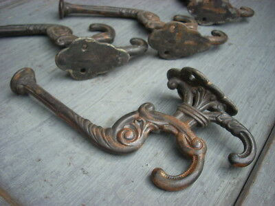 Large Antique Architectural Victorian Ornate Cast Iron Hat Coat Hardware 3 Hook