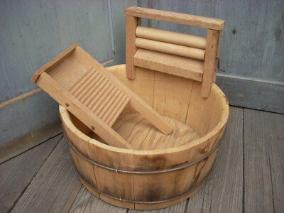 Vintage Wood Wash Tub with Wooden Wringer & Wash board Wooden Bucket Wire Bands